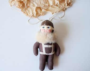 Vintage Raggy-Doodle aviator pilot doll with parachute