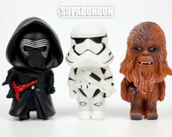 One Set 3 Pcs / Decoden / PVC / Star Wars / Dark Warrior / Stormtrooper / Darth Vader / Figurine / Dollhouse / 8cm / EU325