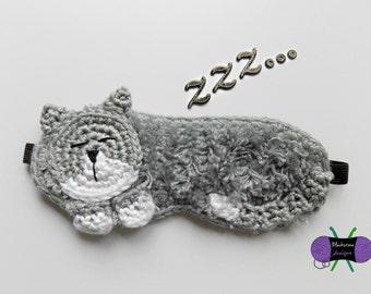Cat Nap Sleep Mask - PDF crochet pattern ONLY - sleep, night, mask, beauty rest, kitten,