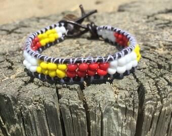 Wrap bracelet single wrap / cuff bracelet / boho jewelry / fiery