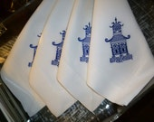 4 Royal Blue Pagoda Dinner Napkins.  White 100% Linen.