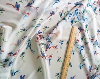 1 Meter Sheer Chiffon Fabric CH23E - Barn Swallow Bird Design