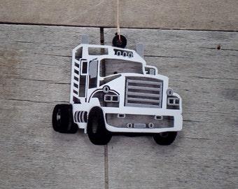 White Semi Truck Christmas Ornament
