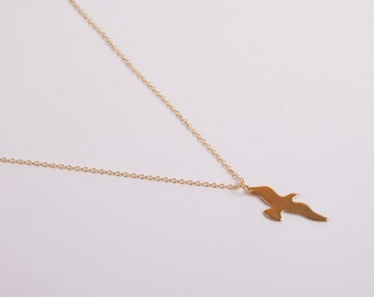 Fine Gold Plated Necklace Seagull Bird Necklace  Golden Necklace Birdy Necklace Anchor