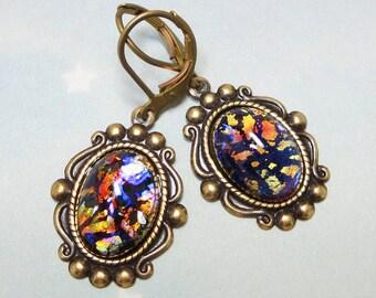 Black Opal Earrings Dangles Black Fire Opal Earrings Jewelry Fantasy Mystical