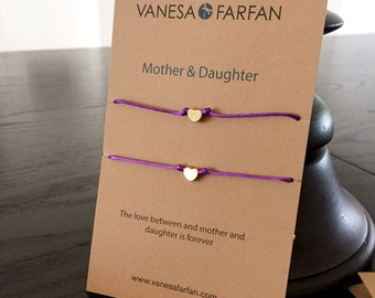 Friendship Bracelet Mother & Daughter Tiny Silver or Gold Heart, Double, For Kids, Girls and Women, Adjustable, 16 colors