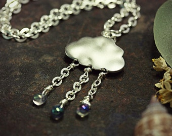 Rain Cloud Necklace Cloud Jewelry Rain Cloud Storm Weather Silver Lining Rainy Day Aqua Droplet Raindrop Bead Pendant