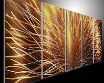 Large Original Metal Wall Art Modern Abstract Painting Sculpture Indoor Outdoor Decor. Special Pigment Gift ideas