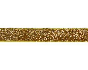 "Gold - 5 Yards 5/8"" Glitter Elastic - 5/8-G-015"
