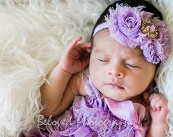 Lavender Purple Shabby Chic Baby Headband, Vintage Headband, Flower Headband, Newborn Headband,  Girl's Headband, Newborn Photo Prop