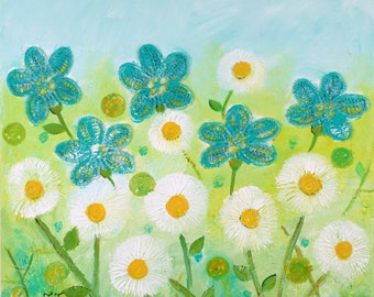 Daisy Painting, Turquoise Flowers Artwork, Mixed Media Floral Art, Naive Flowers, Green Painting, White Flowers Art, Collage Art, Doily Art