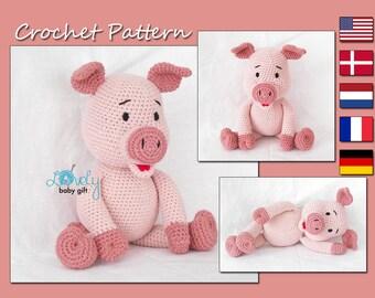 Piglet Crochet Pattern, Pink Amigurumi Piggy,  Pig Crochet Tutorial, CP-142
