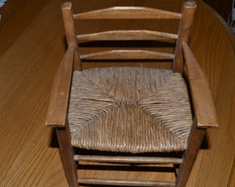 Vintage Doll Ladder Back Chair With Woven Rush Seat