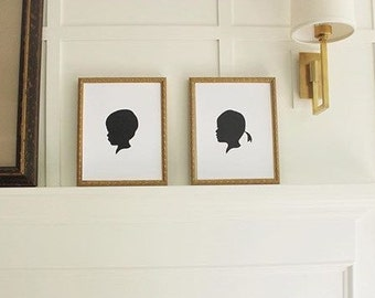 Custom Child Natural Silhouette with Realistic Features 8x10 for Nurseries, Birthdays, Birth Gifts