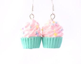 Cupcake earrings, Pastel jewelry, Pink and mint Polymer clay miniature, Kawaii food jewelry