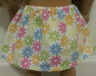 Free Shipping on all US  orders! 18 inch doll clothes handmade to fit American Girl dolls. Yellow floral mini-skirt.