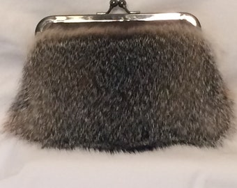 Genuine Grey Fox Fur Clutch Purse