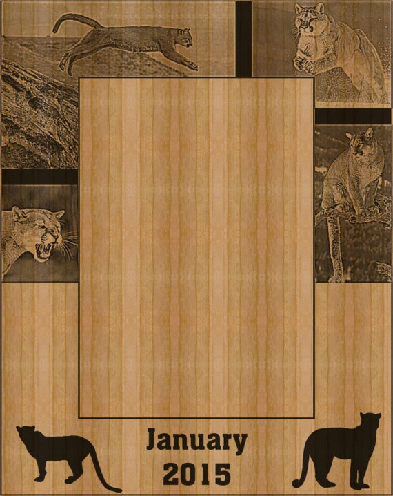 mountain lion personalized wooden picture frame. Black Bedroom Furniture Sets. Home Design Ideas