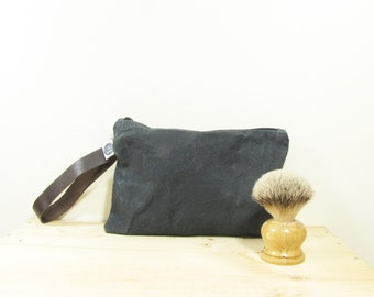 men's wash-bag made with black waxed canvas and leather handle, british hand prepared waxed canvas, men's accessories
