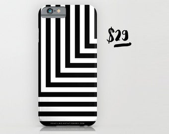 Black and White L Stripe Phone Case