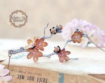 rose gold silver cherry blossom necklace ,handmade flowers necklace