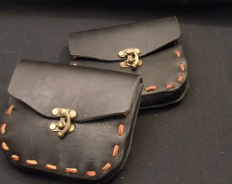 Hand crafted Black Leather Belt Pouch Costume