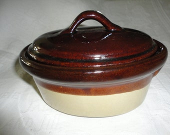 Brown Oval Glazed Stoneware Covered Casserole Baking Dish Individual Covered Dish