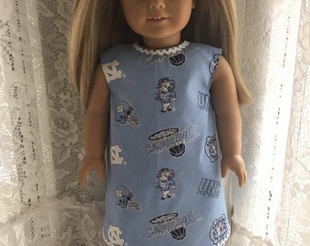 UNC Tarheels dress for 18 inch dolls