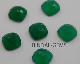 25 Pieces Wholesale Lot Green Onyx Cushion Shape Rose Cut Loose Gemstone For Jewelry