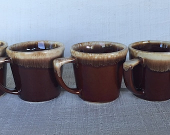 5 vintage Mc Coy brown drip D handle coffee cups, rustic brown drip coffee mugs, vintage Mc Coy pottery, Mid century brown drip kitchen mugs