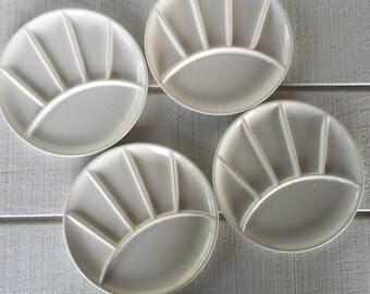 Vintage white stoneware plates, Fondue Sushi divided plates, Retro ceramic grill plates, pottery fondue sushi plates, Mid century serving