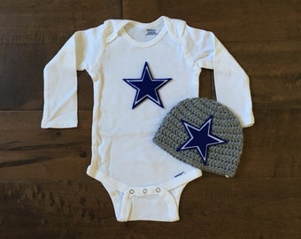 Dallas cowboys outfit, dallas cowboys baby outfit, baby hat, baby onsie