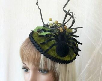 Spider Hat, Halloween Fascinator, Tarantula Hat, Spider fascinator, Arachnophobia Hat, Creepy Hat, Insect Hat