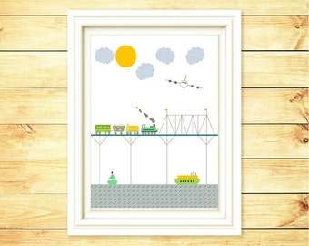 Modern Children Art -  Wall Art Train - Train Illustration Print- Moder Nursery Art -  Nursery Modern Children Art Boy 8x10