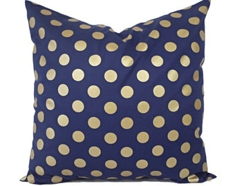 Two Metallic Bronze Pillow Covers - Navy Blue and Gold Pillow Cover - Decorative Pillow - Polka Dot Pillows - Holiday Decor - 16x16 18x18