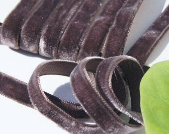 Vintage French Velvet Ribbon Wholesale 9mm Coffee Bean Velvet Dress Ribbon by the yard - Jewelry Ribbon Craft #148 Made in France