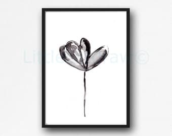 Black Flower 01 Print Watercolor Painting Art Print Black and White Print Minimalist Wall Art Floral Unframed Art Print