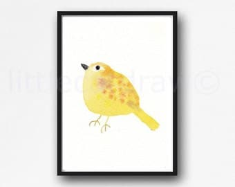 Bird Print Yellow Watercolor Bird Painting Art Print Bird Lover Gift Bird Wall Art Bird Bedroom Art Home Decor Unframed Watercolor Print