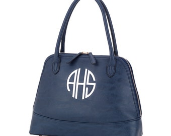 Monogrammed Sydney Handbag-Navy