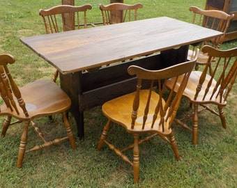 Solid Barn Wood Farmhouse Table and Six Windsor back Chairs