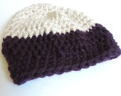 Boy's Chunky Winter Crochet Beanie Hat for Young Boy's, Mauve and Tan Colors