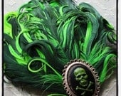 Green Crossbones Cameo Feather Fascinator Hair Clip