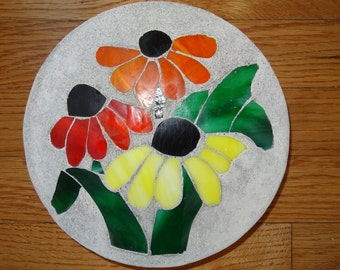 Flowers!  Brightly Colored Stained Glass Garden Stone