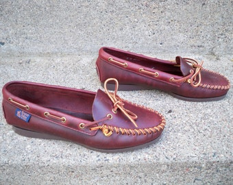 Vintage Sioux Mox Tru Stitch Made in USA Brown Leather Women's Moccasins Oxfords Shoes Size 8