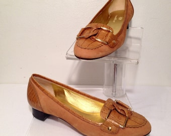 Cole Haan Ladies' Gold Ultra Suede and Faux Reptile Skin Low Heel Slip On Loafers with Gold Buckles Size 6.5 - Nice Clean Casual Flats