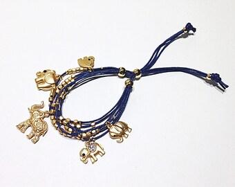 FREE SHIPPING Elephant bracelet Blue bracelet String bracelet Charm bracelet Good luck bracelet