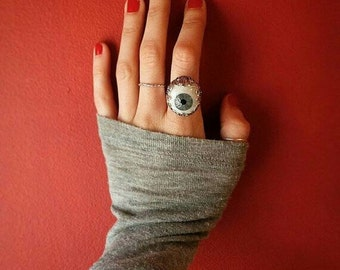 Evil eye, sterling silver, prosthetic eye ring! Your choice of eye color.
