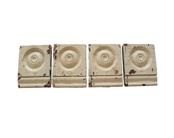 Vintage Chippy Off White Bullseye Architectural Detail Salvage Moldings Trim Set of 4