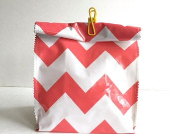 Oil Cloth Lunch Bag in Coral Chevron/blue polka
