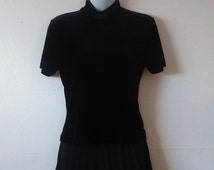 Vtg Rampage Black Velveteen Mock Turtleneck Top / Shirt - Size M - Goth - Gothic - Retro - 90's